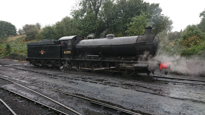 Q6 leaving Bridgnorth MPD in the rain, ready to take the 13.00 departure to Kidderminster on the Severn Valley Railway. 20 September 2018 - Neil Young.