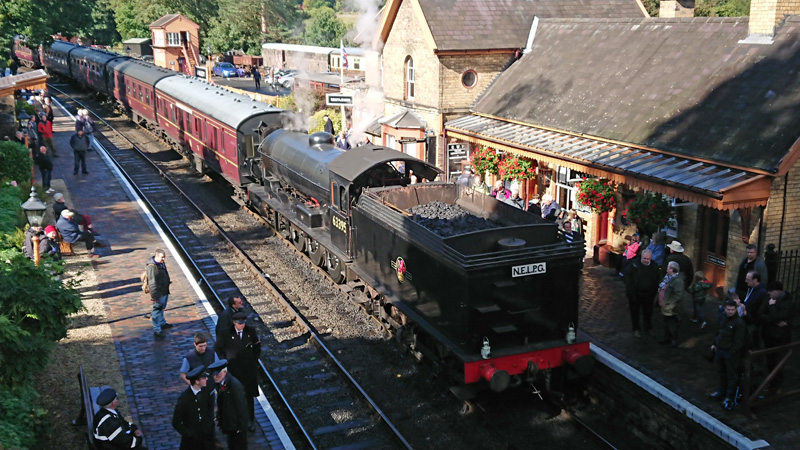 Q6 at Arley on the Severn Valley Railway with the 13.15 Bridgnorth to Kidderminster service. 23 September 2018 - Neil Young