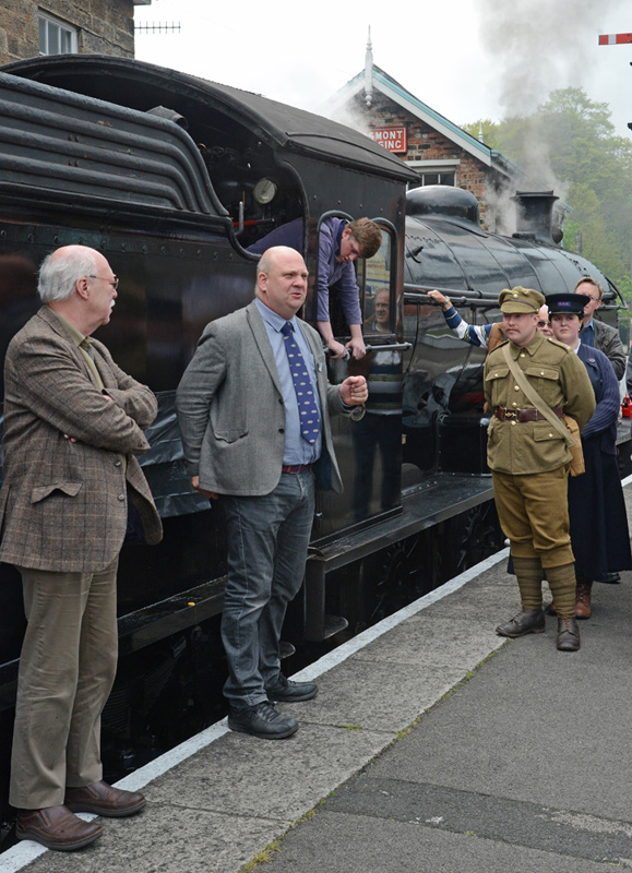 Chris Price, NYMR General Manager, addresses the gathering - John Hunt