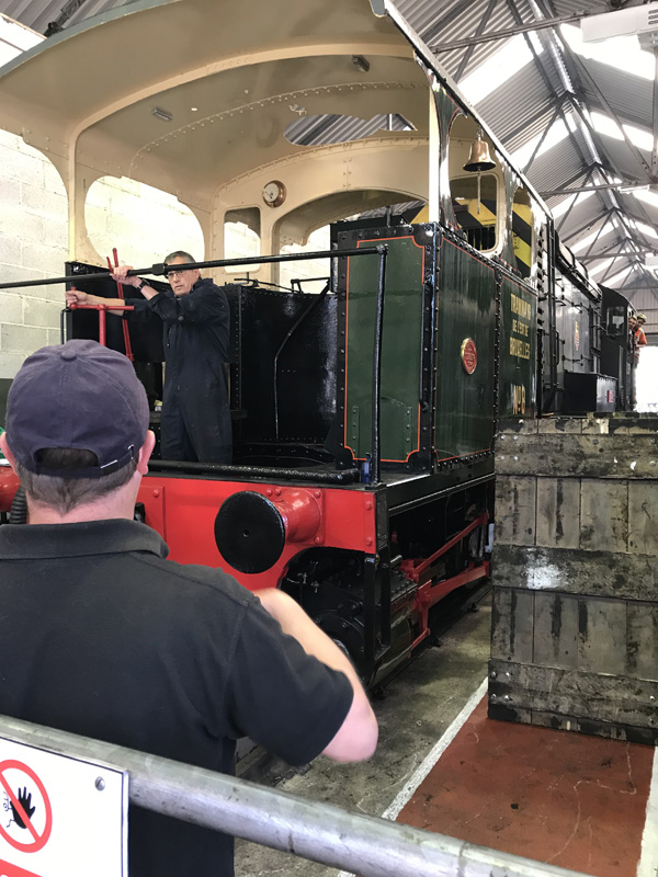 Ex Brussels tram engine Lucie arrives in Deviation Shed under the watchful eye of Piglet. - Ian Pearson. NELPG Collection