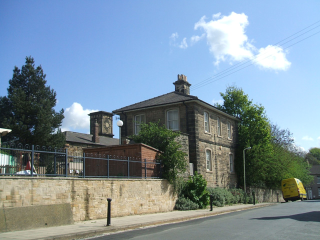Stockton and Darlngton Railway Mercantile Station Office; the goods depot with the clockless tower, now occupied by the Darlington Preservation Society, is in the background.