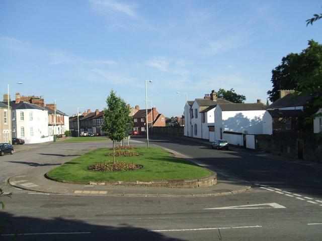 Route of the Stockton and Darlington Railway Branch. The line passed over the centre of the flower bed. To the right in the distnce is the boundary wall of the coal drops.